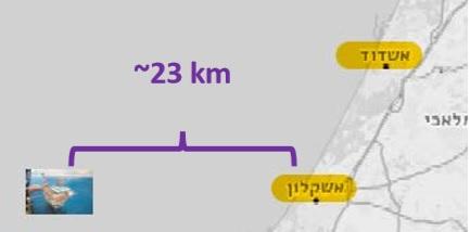 אשקלון העיר הקרובה ביותר לאסדת תמר