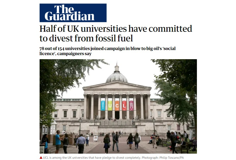 due to global warming and climate change - Half of UK universities have committed to divest from fossil fuel