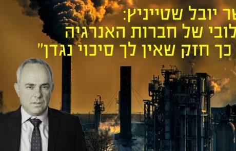 """יובל שטייניץ: """"הלובי של חברות האנרגיה כל כך חזק שאין לך סיכוי נגדן"""""""